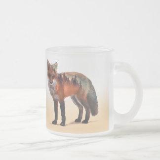 Caneca De Café Vidro Jateado Exposição dobro do Fox - arte da raposa - raposa