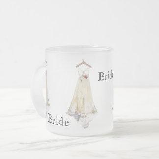 Caneca De Café Vidro Jateado Favor de partido do vestido de casamento do chá de