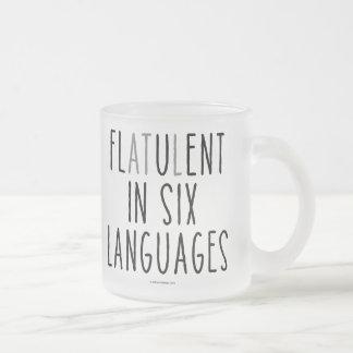Caneca De Café Vidro Jateado Flatulento em seis línguas