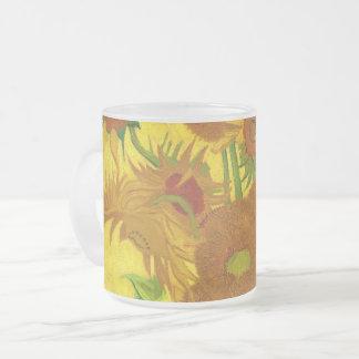 Caneca De Café Vidro Jateado Girassóis de Van Gogh quinze em umas belas artes