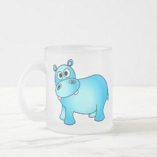 Caneca De Café Vidro Jateado Hipopótamo bonito do bebê azul