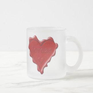 Caneca De Café Vidro Jateado Jordão. Selo vermelho da cera do coração com