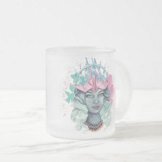 Caneca De Café Vidro Jateado Menina de Tsuru Origami