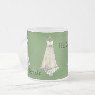 Caneca De Café Vidro Jateado Moderno simples do vestido branco do presente do