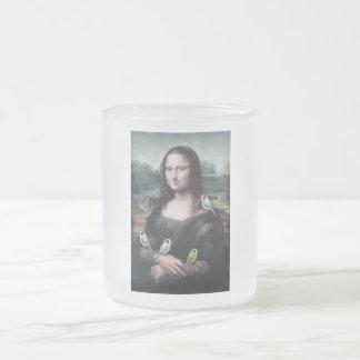 Caneca De Café Vidro Jateado Mona Lisa & Budgies