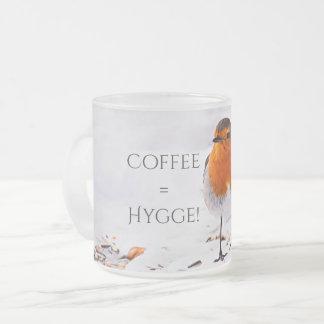 Caneca De Café Vidro Jateado O café iguala Hygge com um pássaro bonito do pisco