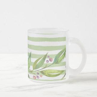 Caneca De Café Vidro Jateado O verde corajoso da arte da aguarela listra o