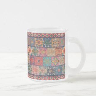 Caneca De Café Vidro Jateado Ornamento de talavera do mosaico do vintage
