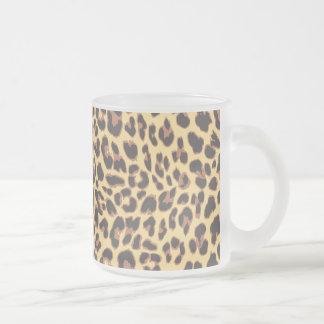 Caneca De Café Vidro Jateado Padrões da pele animal do impressão do leopardo