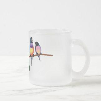 Caneca De Café Vidro Jateado Papagaios e passarinhos