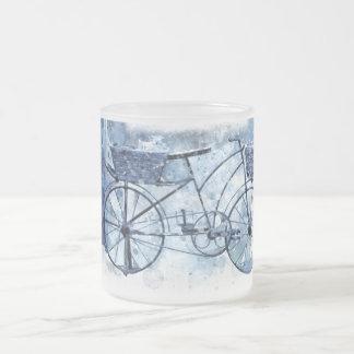 Caneca De Café Vidro Jateado Pintura de cena azul da rua da bicicleta