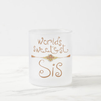 Caneca De Café Vidro Jateado Rakhi - o Sis o mais doce do mundo