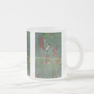 Caneca De Café Vidro Jateado Rubi-garganta e flor cardinal