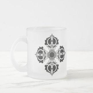 Caneca De Café Vidro Jateado Série budista da meditação do ícone do design