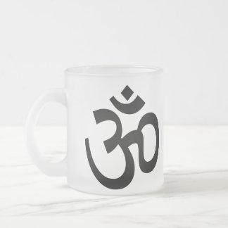 Caneca De Café Vidro Jateado Série budista da meditação do ícone do símbolo de