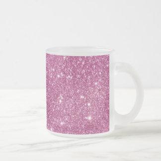 Caneca De Café Vidro Jateado Sparkles do brilho do rosa quente