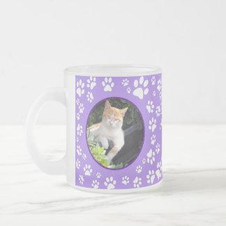 Caneca De Café Vidro Jateado Sua pata memorável das fotos do gato imprime o