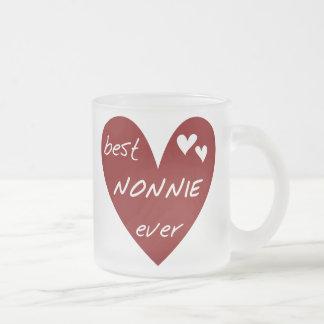 Caneca De Café Vidro Jateado T-shirt e presentes de Nonnie do coração vermelho