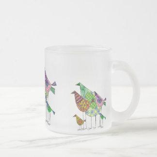 Caneca De Café Vidro Jateado Taça multicolor com motivo abstracto de pássaro