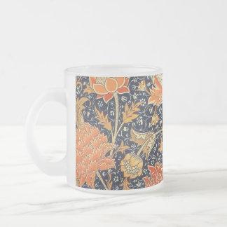 Caneca De Café Vidro Jateado Teste padrão floral de Nouveau da arte de William