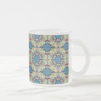 Caneca De Café Vidro Jateado Teste padrão floral étnico abstrato colorido de da
