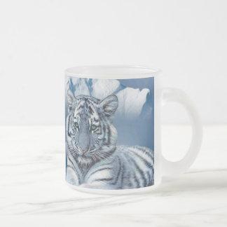 Caneca De Café Vidro Jateado Tigre branco azul