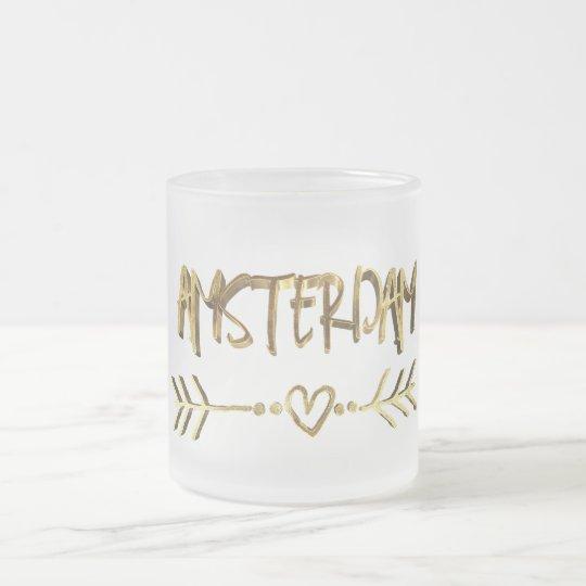 Caneca De Café Vidro Jateado Tipografia holandesa do ouro do amor de Amsterdão