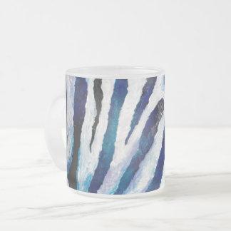 Caneca De Café Vidro Jateado Zebra na cerceta e no roxo