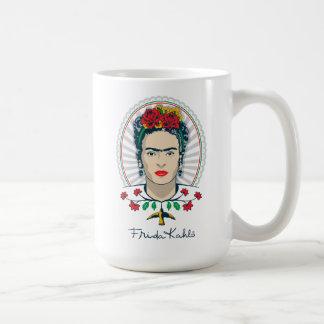Caneca De Café Vintage de Frida Kahlo | floral