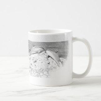 Caneca De Café Vintage do oceano do mar dos golfinhos do copo de