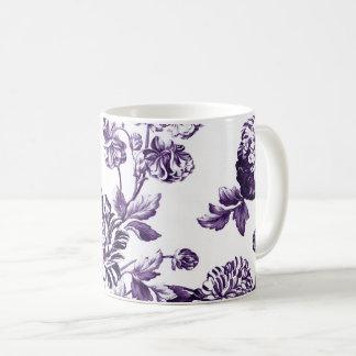 Caneca De Café Vintage roxo Toile floral No.2 do Mulberry preto