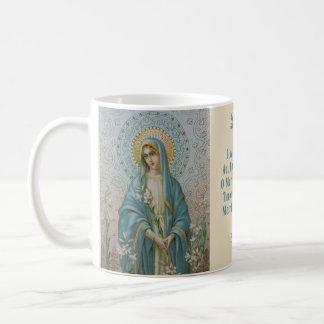 Caneca De Café Virgem Maria abençoada com lírio