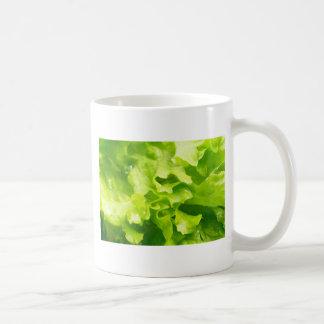 Caneca De Café Vista macro das folhas da alface em uma salada