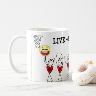 Caneca De Café Vive o Netball engraçado de Emoji do jogo do riso