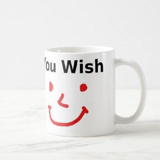 """Caneca De Café """"Você desejo"""" com smiley face vermelho"""