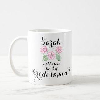 Caneca De Café Você será minha dama de honra? Copo