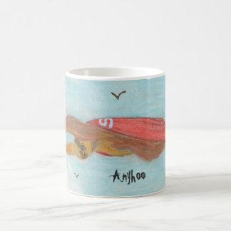 Caneca De Café Vôo de Supersloth com subtítulo 'Anyhoo