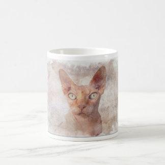 Caneca De Café Watercolor. do gato de Sphynx