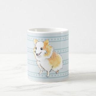 Caneca De Café Watercolour de assento de Pomeranian no azul