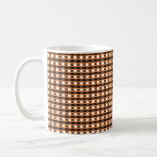 Caneca De Café Weave estático alaranjado, branco e preto