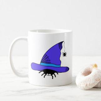 Caneca De Café Web spider roxos do Dia das Bruxas do chapéu da