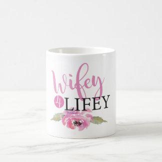 Caneca De Café Wifey 4 Lifey que Wedding a Sra. floral da noiva