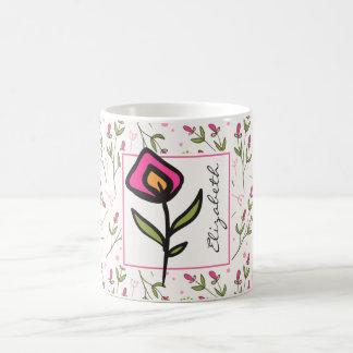 Caneca De Café Wildflowers - cor-de-rosa e pétalas alaranjadas