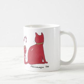 Caneca De Café XmasRedRibbonCats, gatos da fita do Xmas