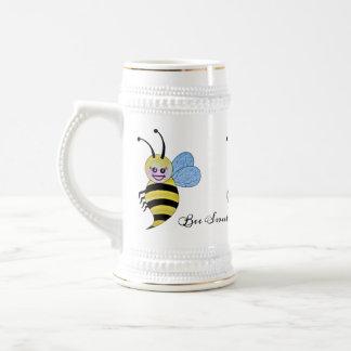 Caneca De Cerveja Abelha bonito do mel da aguarela com sorriso feliz