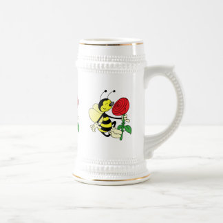 Caneca De Cerveja Abelha da vespa do zangão preto e amarelo com uma
