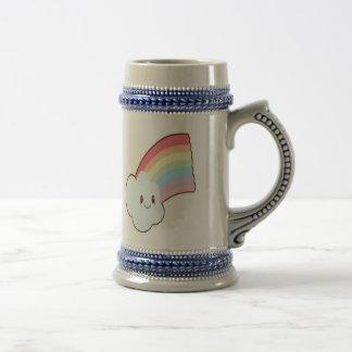 Caneca De Cerveja Arco-íris e nuvem de sorriso bonitos e amando