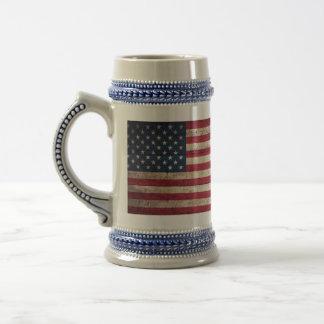 Caneca De Cerveja Bandeira americana de madeira velha