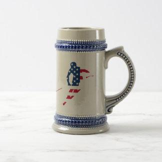Caneca De Cerveja Bandeira dos EUA do americano de esqui de América
