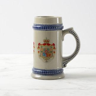 Caneca De Cerveja Brasão real dinamarquesa do vintage de Dinamarca